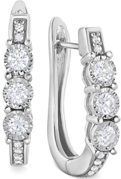 TruMiracle Diamond Three-Stone Hoop Earrings (1/2 ct. t.w.) in 10k White Gold