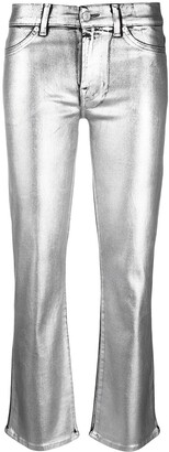 7 For All Mankind Mid-Rise Metallic Flared Trousers