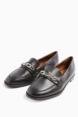 Topshop LAYLA Black Leather Loafer Shoes