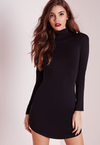 Missguided Curve Hem Turtle Neck Bodycon Dress Black