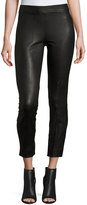 Vince Seamed Leather Leggings, Black
