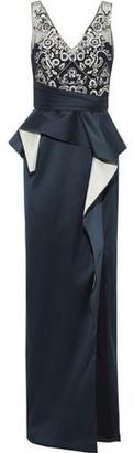 Marchesa Embellished Tulle-paneled Ruffled Duchesse-satin Gown