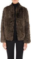 Helmut Lang WOMEN'S SILKY SHEARLING COAT-DARK GREEN SIZE M