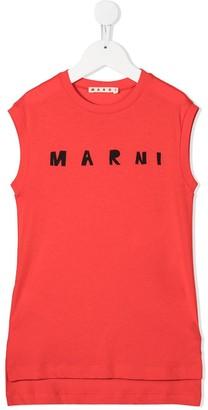 Marni Sleeveless Logo Print Vest Dress