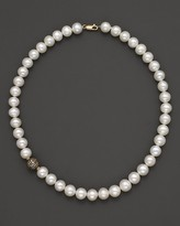 """Bloomingdale's Freshwater Pearl And Diamond Necklace Set In 14K Yellow Gold, 17"""""""