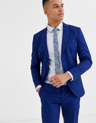 Jack and Jones slim fit cotton stretch suit jacket in blue