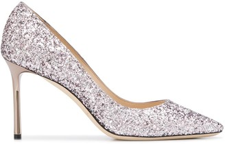 Jimmy Choo Romy 85mm glitter-embellished pumps
