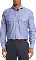 Peter Millar Men's Discovery Regular Fit Chambray Sport Shirt