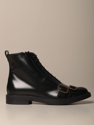 Tod's Tods Oxford Shoes Tods Ankle Boot In Brushed Leather With Double Tongue