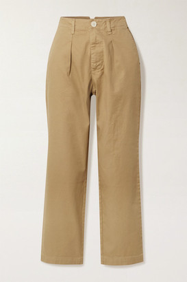Alex Mill Cropped Pleated Cotton-blend Twill Straight-leg Pants - Beige