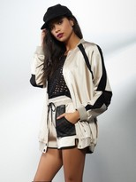 KENDALL + KYLIE Oversized Bomber Jacket in Smoke Grey