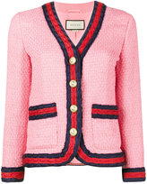 Gucci Slim Fit Blazer with Contrasting Piping - women - Silk/Cotton/Acrylic/Wool - 38