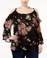 INC International Concepts Plus Size Floral-Print Off-The-Shoulder Top, Only at Macy's