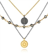 Satya Jewelry Gunmetal and Gold Pyrite Celestial Great Heights Triple Strand Necklace 7537374