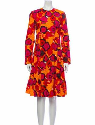 Marni Lace Pattern Knee-Length Dress w/ Tags Orange
