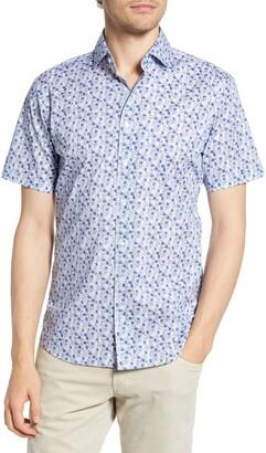 Brax Kelly Hi-Flex Modern Fit Floral Short Sleeve Button-Up Shirt