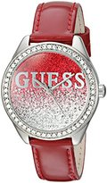 GUESS Women's U0823L3 Trendy Silver-Tone Watch with Red Dial , Crystal-Accented Bezel and Genuine Leather Strap Buckle