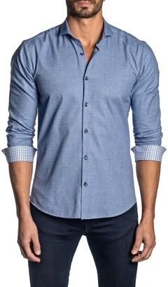 Jared Lang Contrast Cuff Long Sleeve Trim Fit Shirt