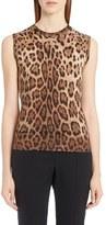Dolce & Gabbana Women's Leopard Print Silk & Cashmere Sweater
