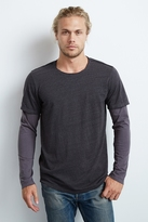 Gray Double Layer Sueded Jersey Tee