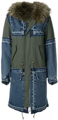 Furs66 hooded patchwork parka