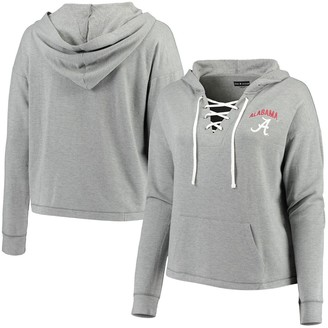 New Era Women's 5th & Ocean by Heathered Gray Alabama Crimson Tide Plus Size Lace-Up Pullover Hoodie
