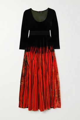 Proenza Schouler Tie-dyed Velvet Maxi Dress - Navy