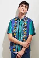 Urban Outfitters Sport Tropic Stripe Short Sleeve Button-Down Shirt