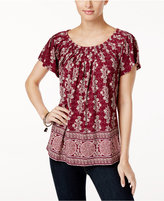 Style&Co. Style & Co Printed Pleat-Neck Top, Created for Macy's