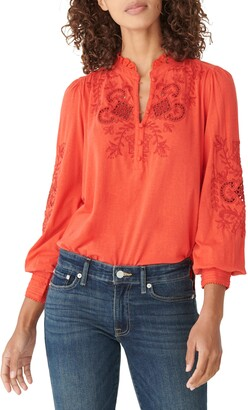 Lucky Brand Floral Embroidered Knit Top