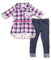 Little Lass Little Girl's Contrast Panel Tunic and Leggings Set