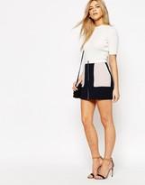 Oasis Zip Front Color Block Skirt