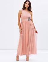 Little Mistress One Shoulder Embellished Maxi Dress