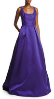 Monique Lhuillier Sleeveless Lace & Mikado Ball Gown, Deep Purple