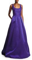 Monique Lhuillier Sleeveless Lace & Mikado Ball Gown, Deep Purple