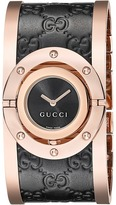 Gucci Twirl Black Rose PVD Black Calf GG Leather Watches