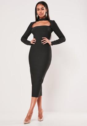 Missguided Premium Black Bandage High Neck Cut Out Mini Dress