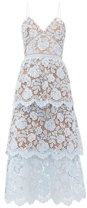 Self-Portrait Tiered Floral-lace Midi Dress - Womens - Light Blue