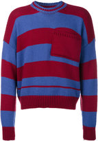 Raf Simons cropped stripe knit jumper