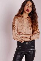 Missguided Silky Pocket Detail Shirt Gold