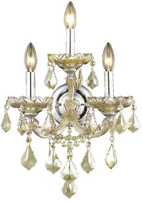 Theresa Worldwide Lighting Maria 3-Light Chrome Finish and Crystal Candle Wall Sconce Light