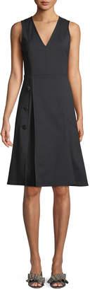 Derek Lam V-Neck Sleeveless Fit-and-Flare Knee-Length Dress w/ Button Detail