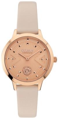 Versus By Versace Women's Palos Verdes Beige Leather Strap Watch 34mm