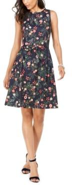 Tahari ASL Floral-Print Bow Fit & Flare Dress