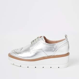 River Island Womens Silver lace-up flatform brogue shoes