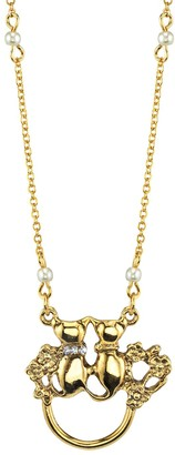 1928 Jewelry Simulated Pearl & Crystal Cat Motif Pendant Necklace