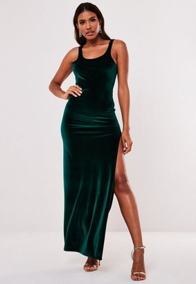 Missguided Green Velvet Low Back Side Split Maxi Dress