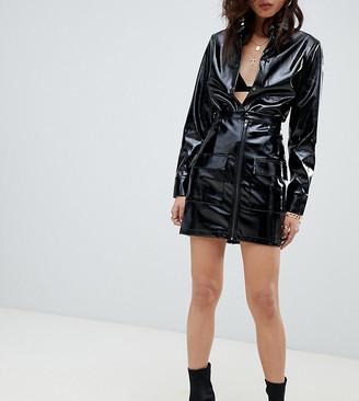 NA-KD vinyl zip front mini skirt in black