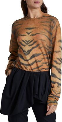 Dries Van Noten Zebra Print Crewneck Sweater