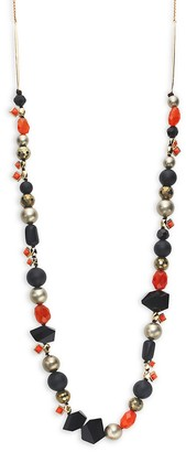Alexis Bittar Mosaic Futurist Goldplated Pyrite, Coral Bead Necklace